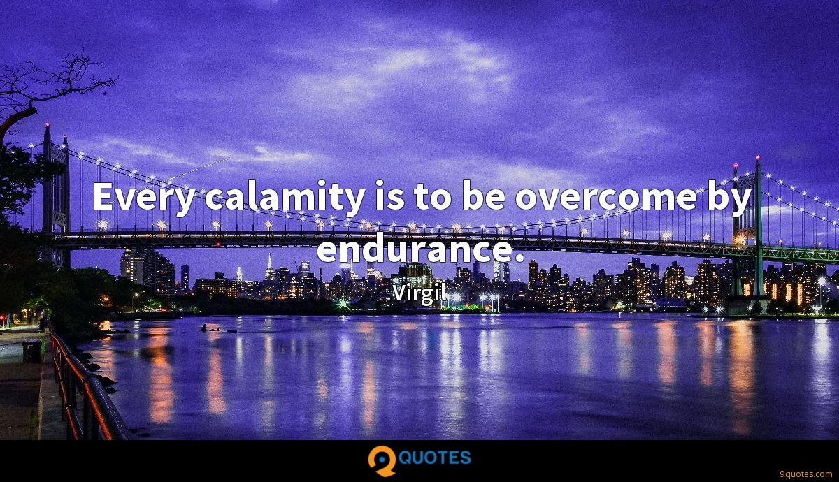 Every calamity is to be overcome by endurance.