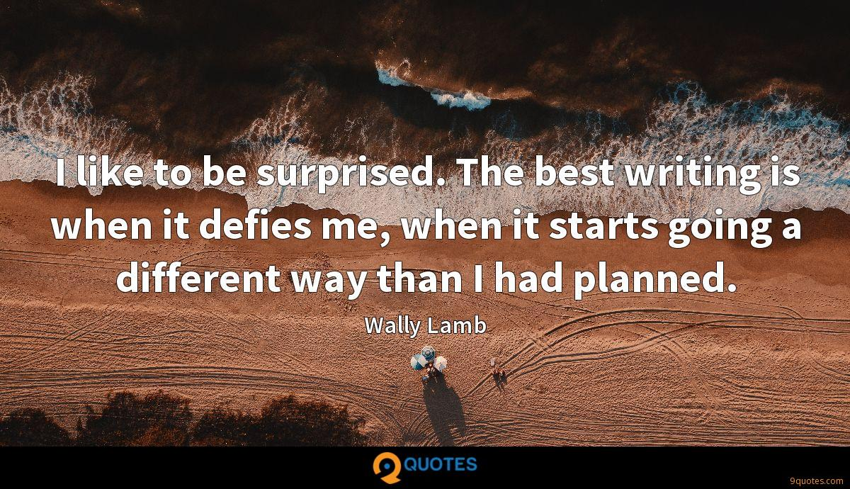I like to be surprised. The best writing is when it defies me, when it starts going a different way than I had planned.