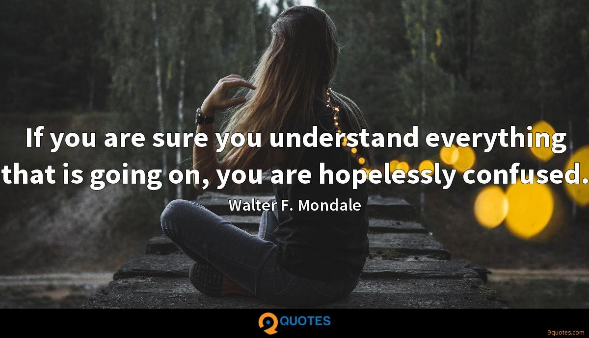 If you are sure you understand everything that is going on, you are hopelessly confused.
