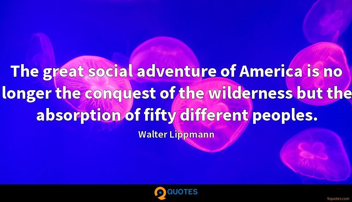 The great social adventure of America is no longer the conquest of the wilderness but the absorption of fifty different peoples.