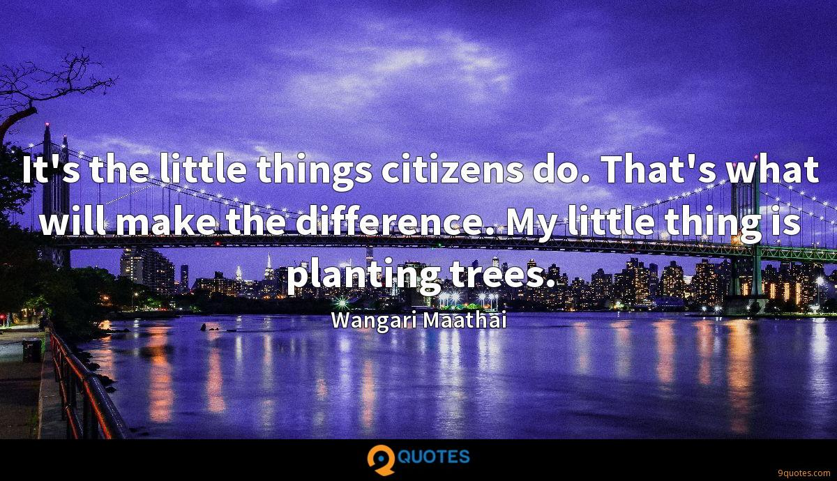 It's the little things citizens do. That's what will make the difference. My little thing is planting trees.