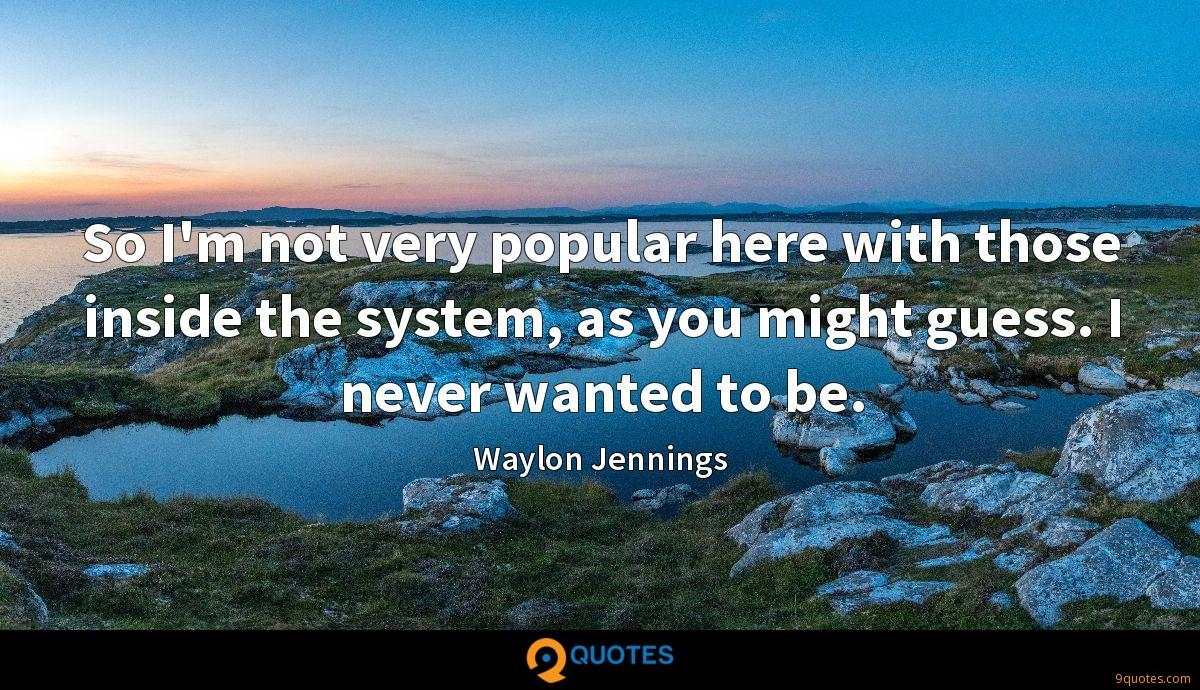 So I'm not very popular here with those inside the system, as you might guess. I never wanted to be.