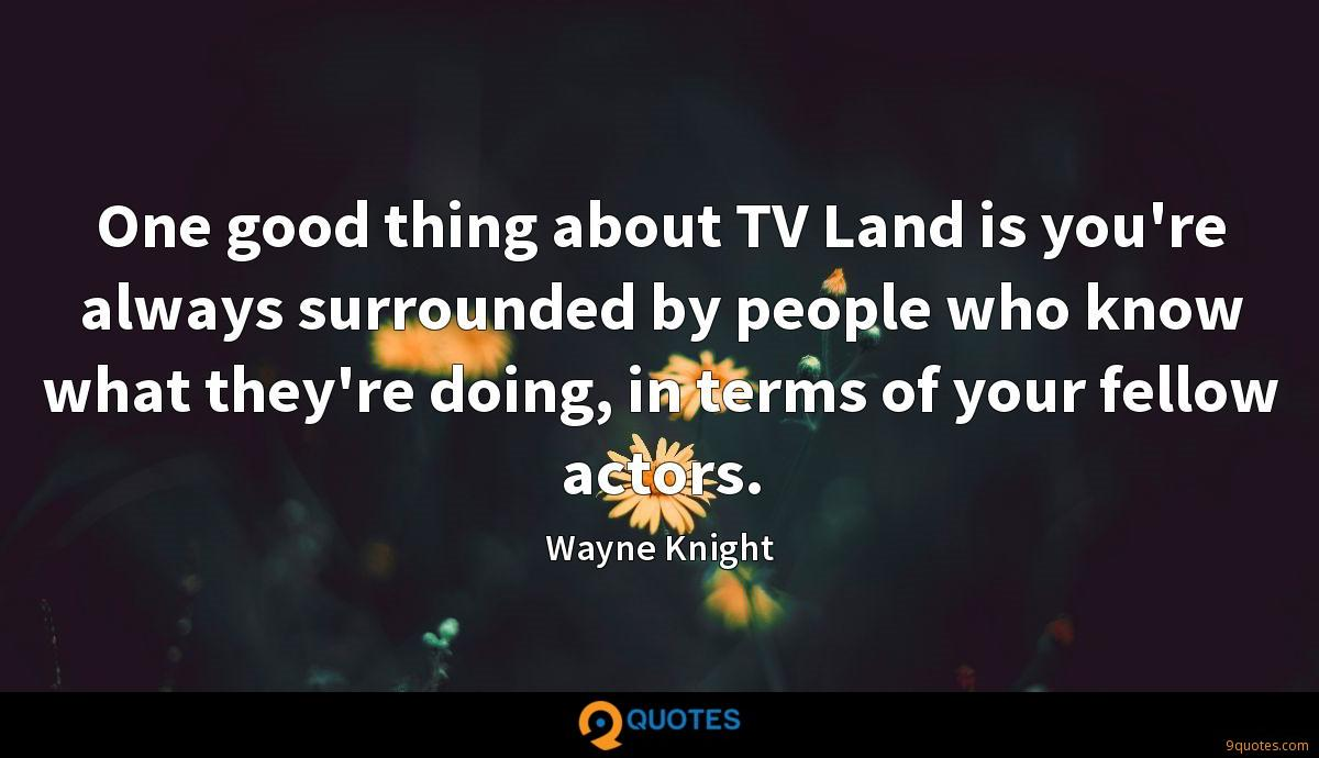 One good thing about TV Land is you're always surrounded by people who know what they're doing, in terms of your fellow actors.