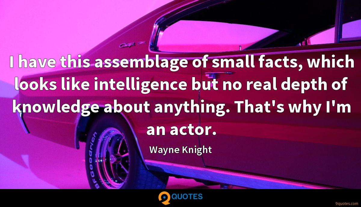 I have this assemblage of small facts, which looks like intelligence but no real depth of knowledge about anything. That's why I'm an actor.