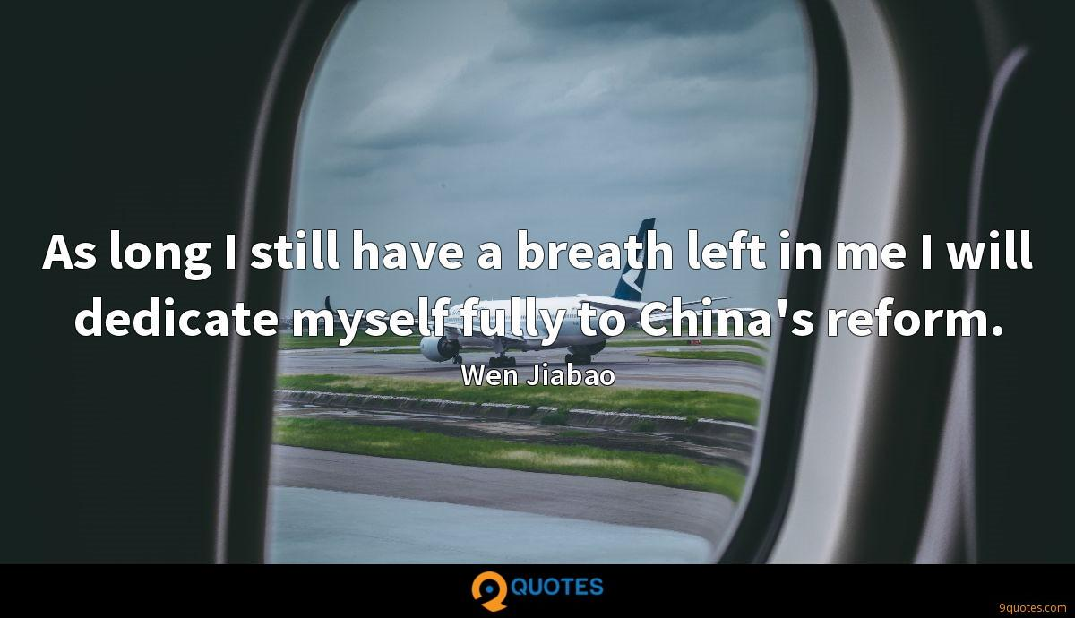 As long I still have a breath left in me I will dedicate myself fully to China's reform.