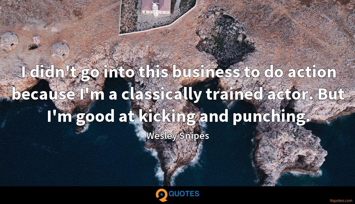 I didn't go into this business to do action because I'm a classically trained actor. But I'm good at kicking and punching.