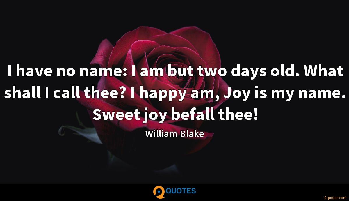I have no name: I am but two days old. What shall I call thee? I happy am, Joy is my name. Sweet joy befall thee!