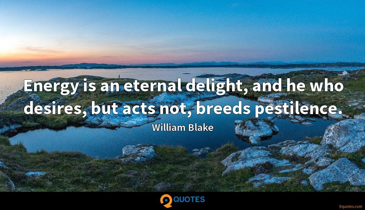 Energy is an eternal delight, and he who desires, but acts not, breeds pestilence.