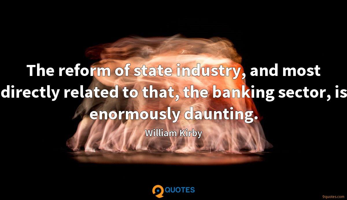 The reform of state industry, and most directly related to that, the banking sector, is enormously daunting.