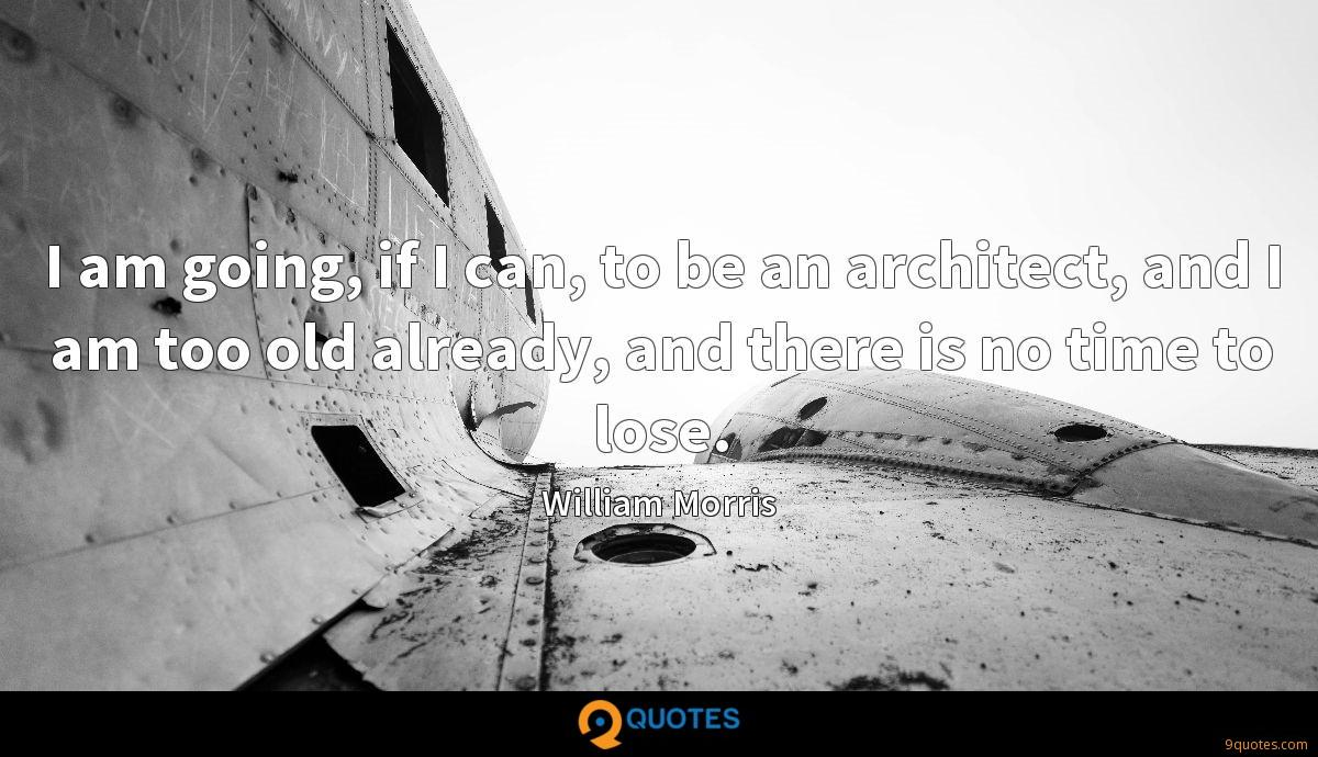 I am going, if I can, to be an architect, and I am too old already, and there is no time to lose.