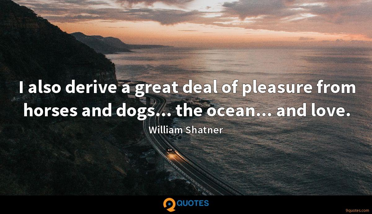 I also derive a great deal of pleasure from horses and dogs... the ocean... and love.