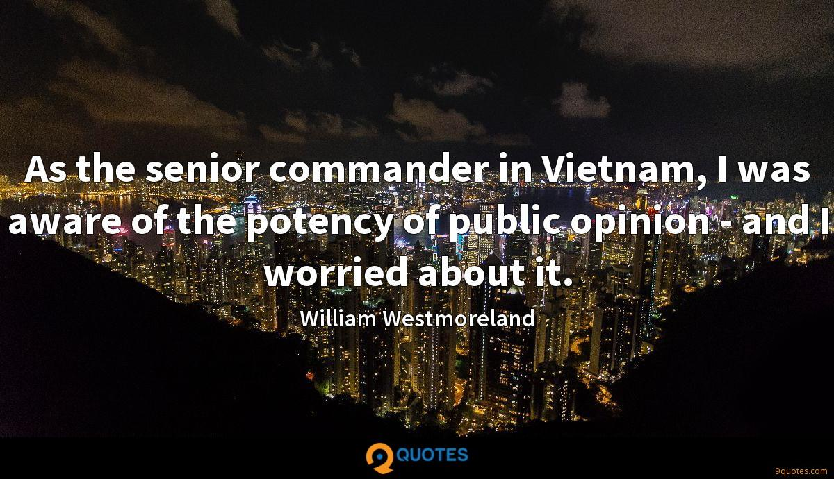 As the senior commander in Vietnam, I was aware of the potency of public opinion - and I worried about it.