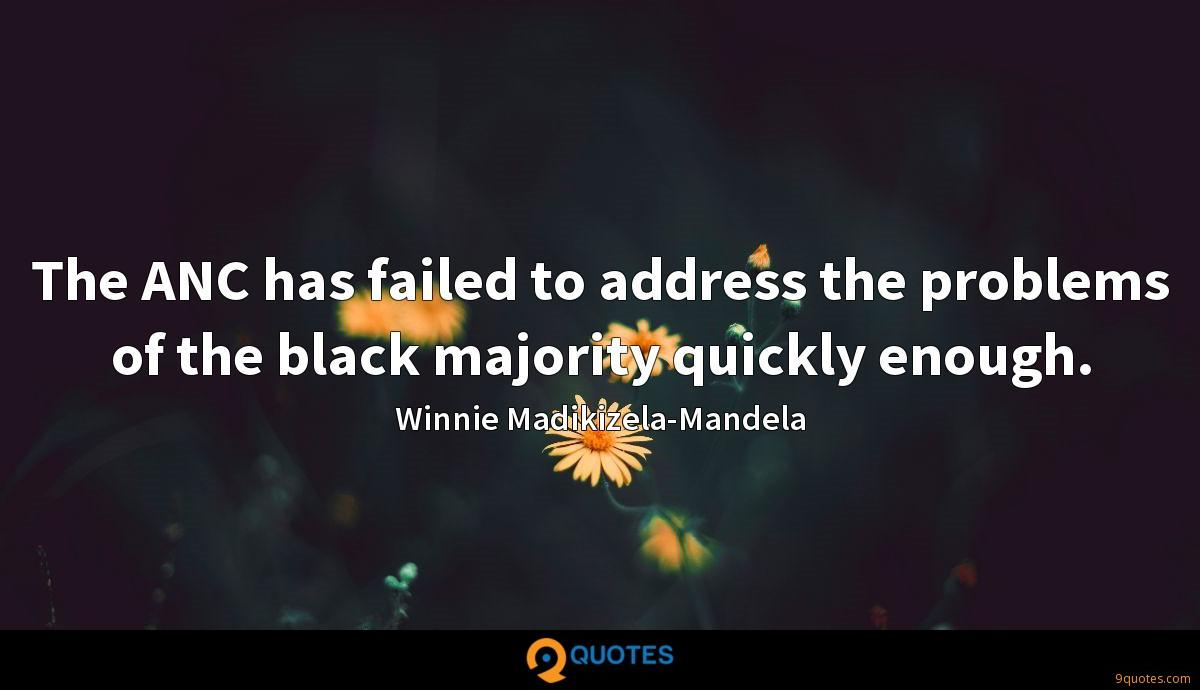 The ANC has failed to address the problems of the black majority quickly enough.