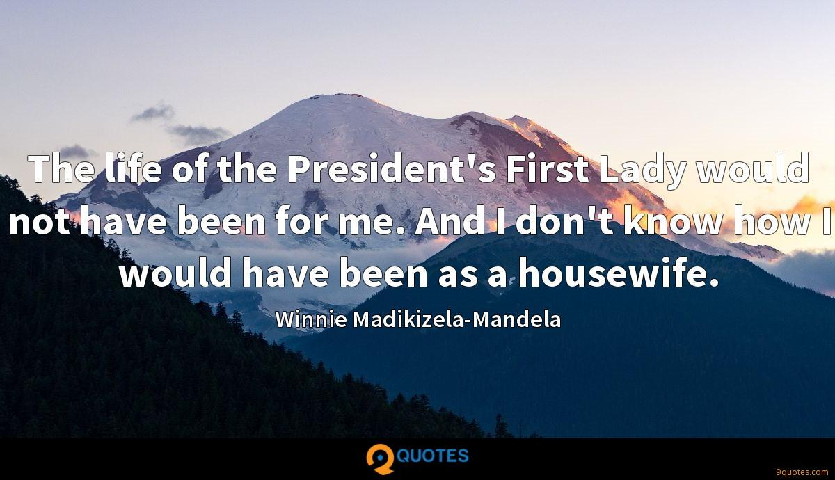 The life of the President's First Lady would not have been for me. And I don't know how I would have been as a housewife.