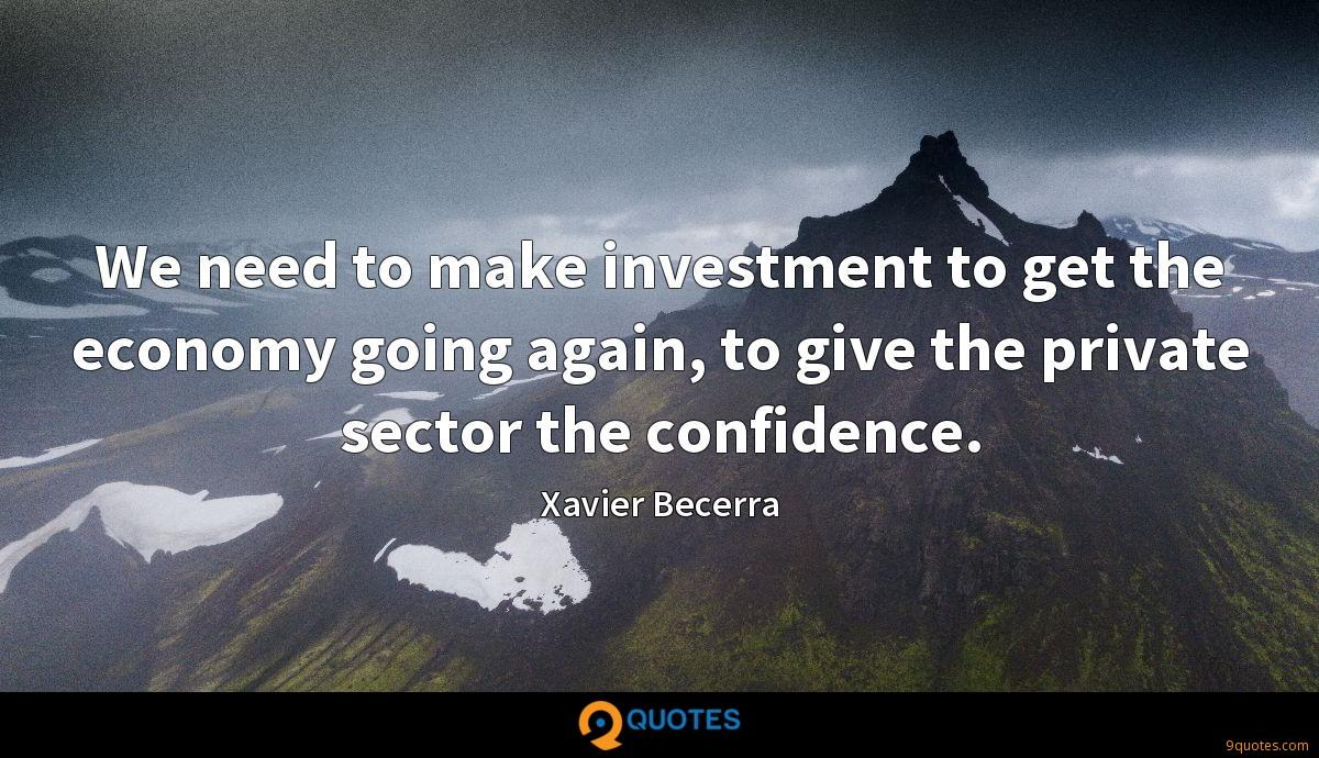 We need to make investment to get the economy going again, to give the private sector the confidence.