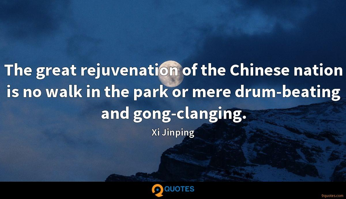 The great rejuvenation of the Chinese nation is no walk in the park or mere drum-beating and gong-clanging.