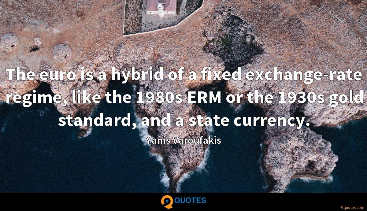 The euro is a hybrid of a fixed exchange-rate regime, like the 1980s ERM or the 1930s gold standard, and a state currency.