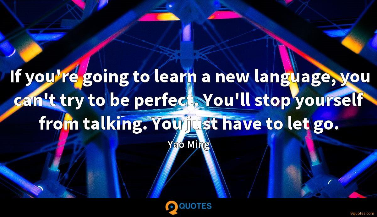 If you're going to learn a new language, you can't try to be perfect. You'll stop yourself from talking. You just have to let go.