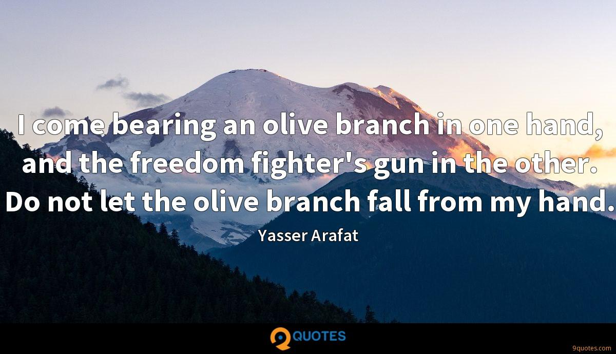 I come bearing an olive branch in one hand, and the freedom fighter's gun in the other. Do not let the olive branch fall from my hand.
