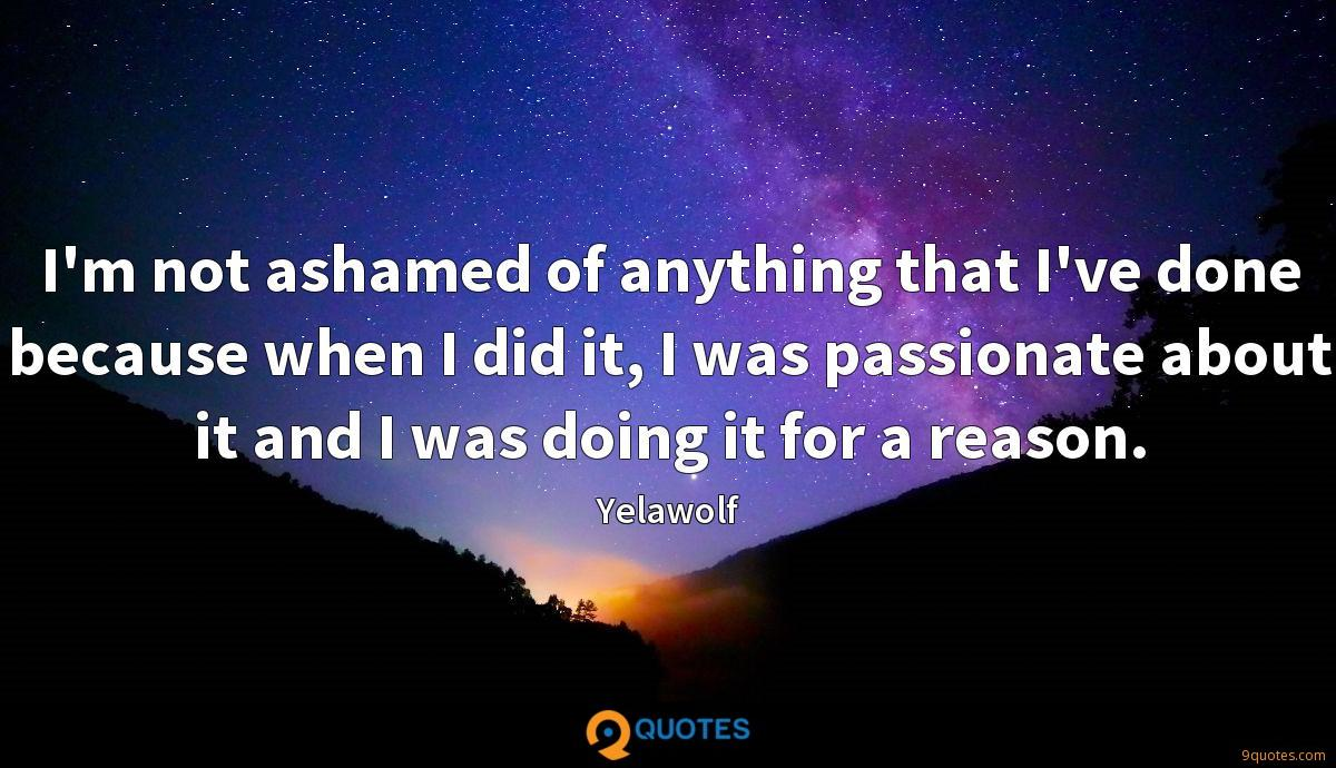 I'm not ashamed of anything that I've done because when I did it, I was passionate about it and I was doing it for a reason.