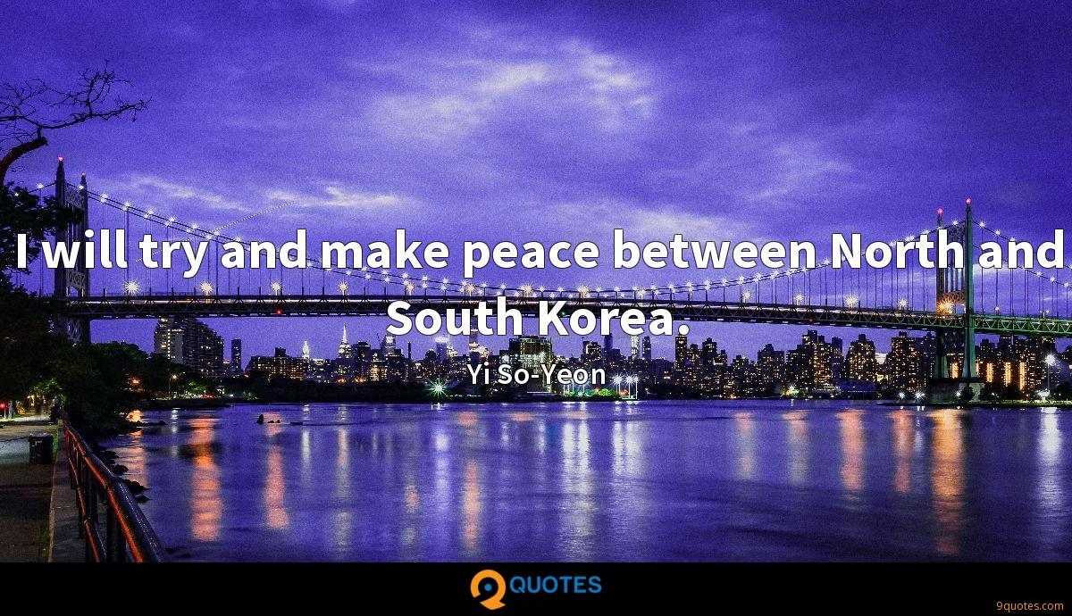 I will try and make peace between North and South Korea.
