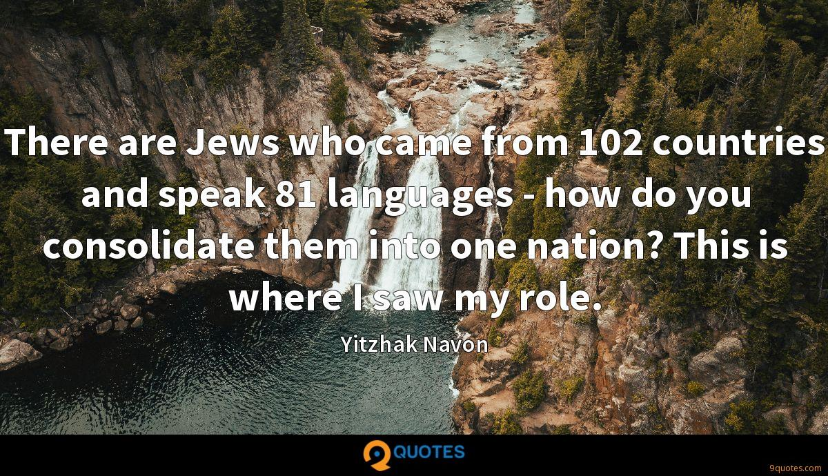 There are Jews who came from 102 countries and speak 81 languages - how do you consolidate them into one nation? This is where I saw my role.