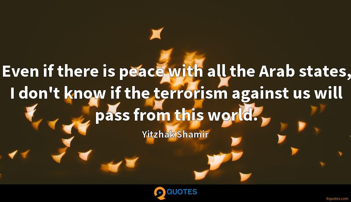 Even if there is peace with all the Arab states, I don't know if the terrorism against us will pass from this world.