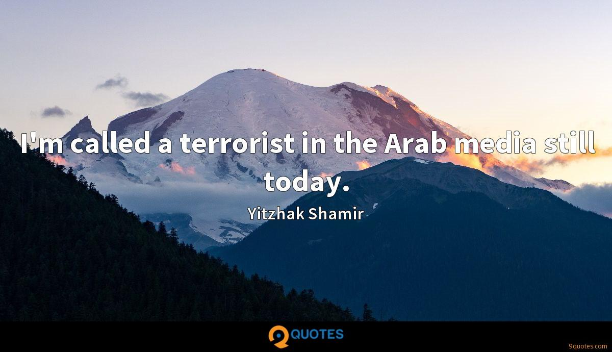I'm called a terrorist in the Arab media still today.