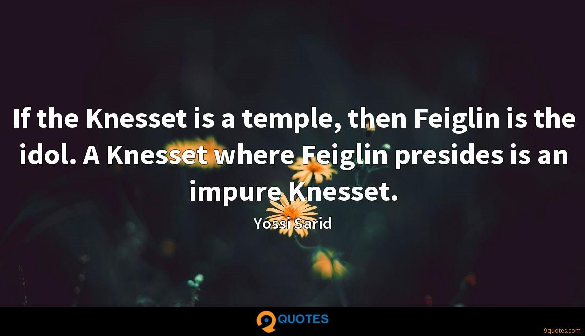 If the Knesset is a temple, then Feiglin is the idol. A Knesset where Feiglin presides is an impure Knesset.