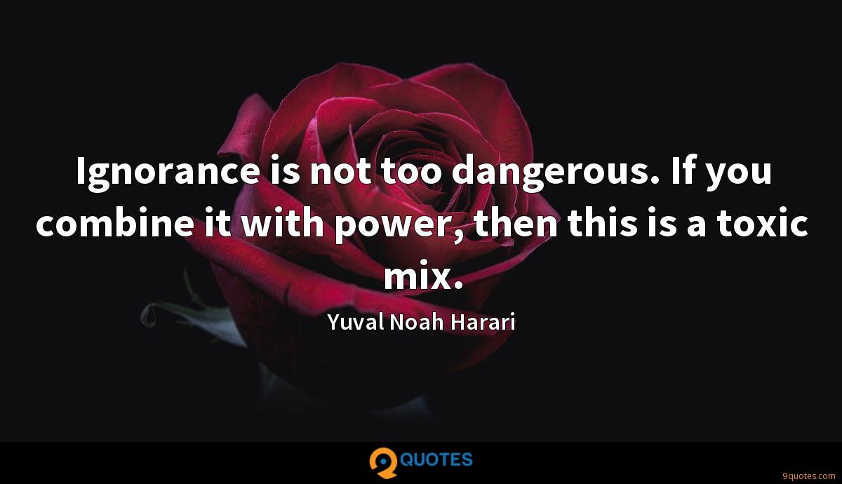Ignorance is not too dangerous. If you combine it with power, then this is a toxic mix.