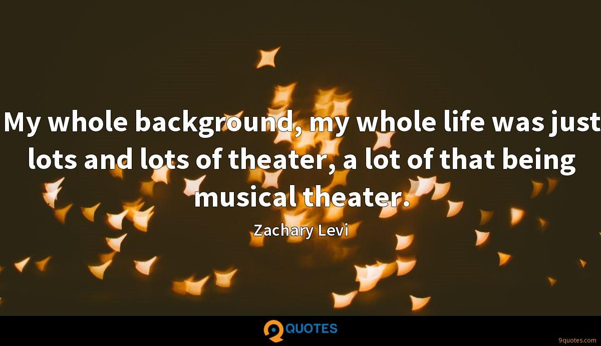 My whole background, my whole life was just lots and lots of theater, a lot of that being musical theater.