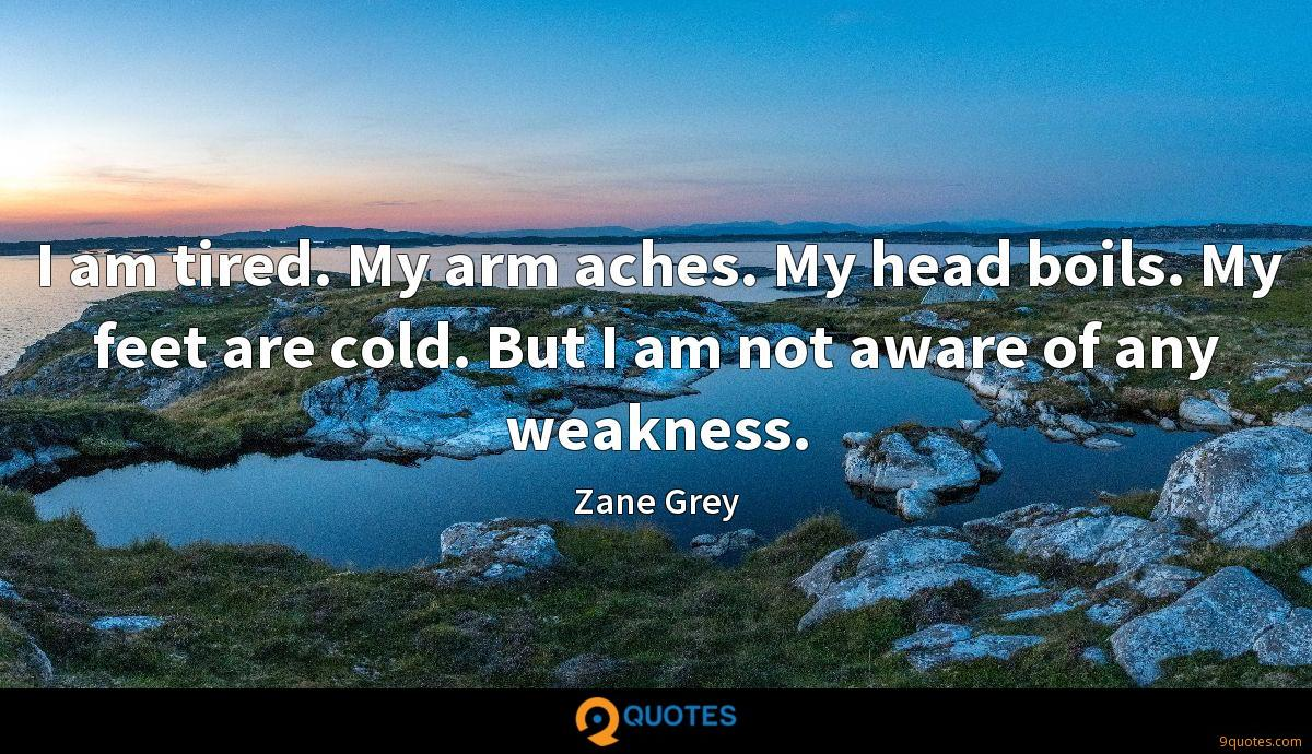 I am tired. My arm aches. My head boils. My feet are cold. But I am not aware of any weakness.
