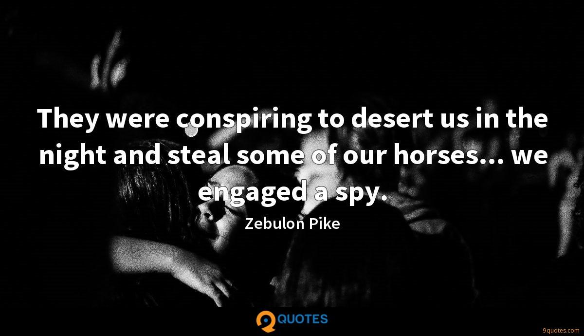 They were conspiring to desert us in the night and steal some of our horses... we engaged a spy.