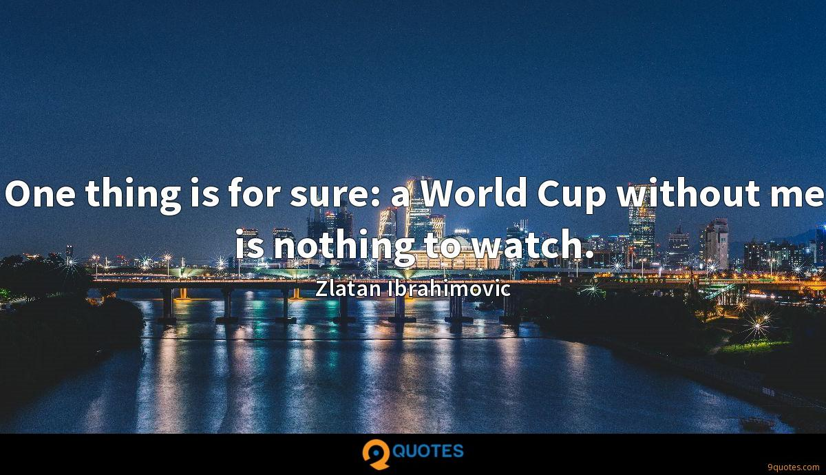 One thing is for sure: a World Cup without me is nothing to watch.